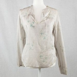 J. Crew sheer v neck long sleeve layering top S